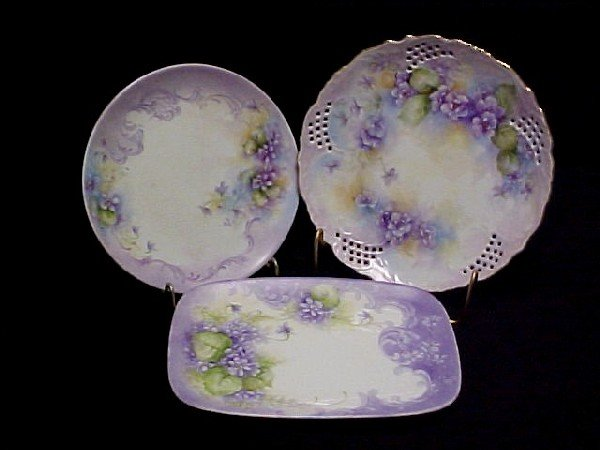 24: Group of Three Hand Painted Plate's,