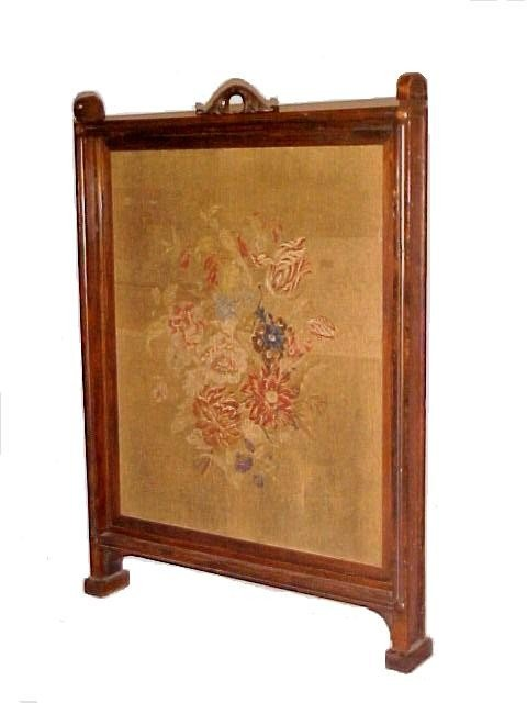 220: Rosewood Victorian Needlepoint Fire Screen,
