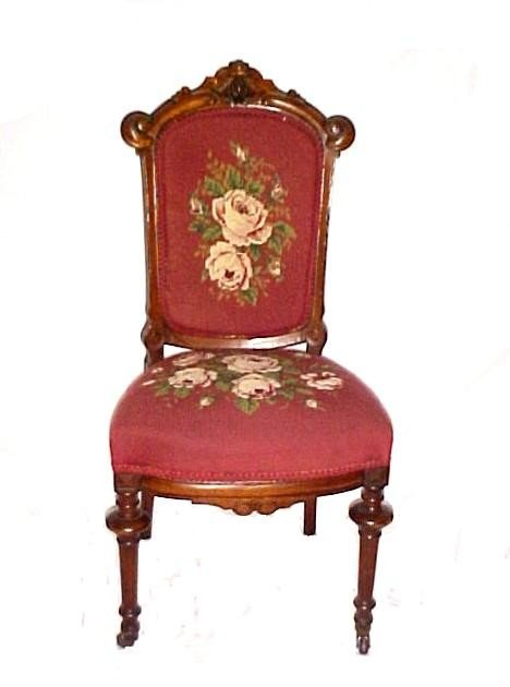 3: Ladies Victorian Needlepoint Side Chair,