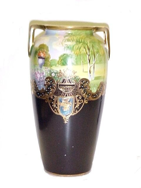 5: Nippon Scenic Gold Decorated Handle Vase