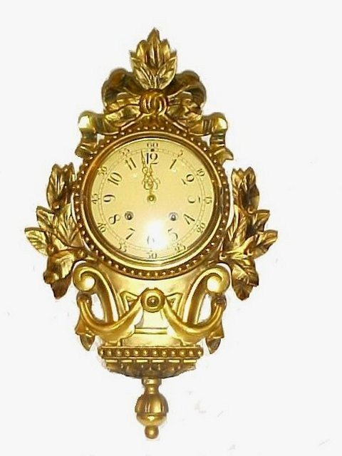 10: Westersrtand Gilt Wood Wall Cartel Clock 1950,