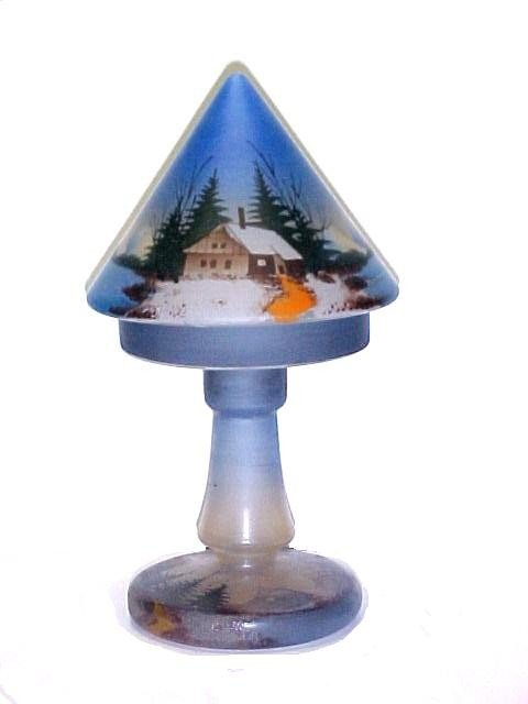 15: Hand Painted Winter Scene Two Piece Lamp,