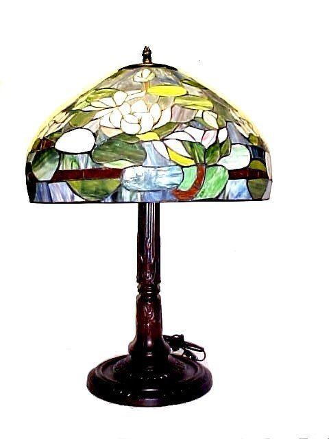 16: Recent Vintage Stained & Leaded Glass Lamp,