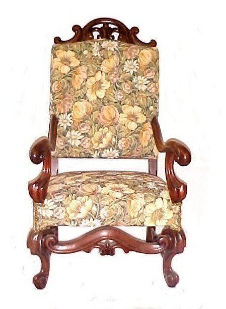 19: Carved High Back Georgian Style Arm Chair,