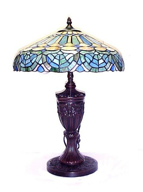 20: Recent Vintage Stained & Leaded Glass Lamp,