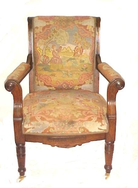 23: Mid Victorian Scenic Needlepoint Arm Chair,