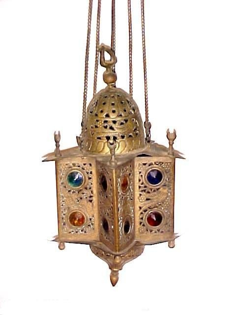 24: Arabian Or India Brass Jeweled Candle Light,