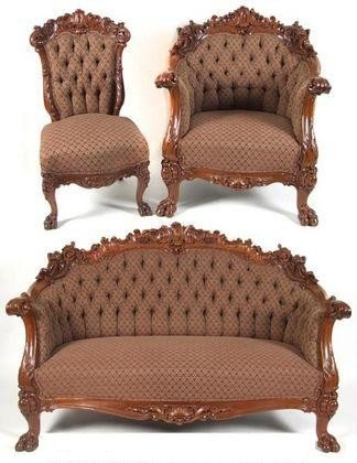 190C: Three Piece Karpen Carved Parlor Suite Ca.1900
