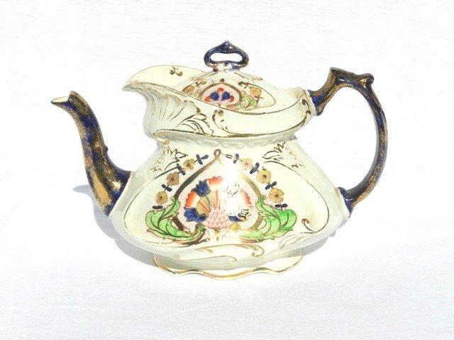 4: Early Staffordshire Cobalt Handle Tea Pot