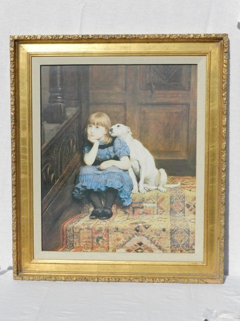 """8: Whimsical """"Young Girl with Dog"""" Framed Print"""