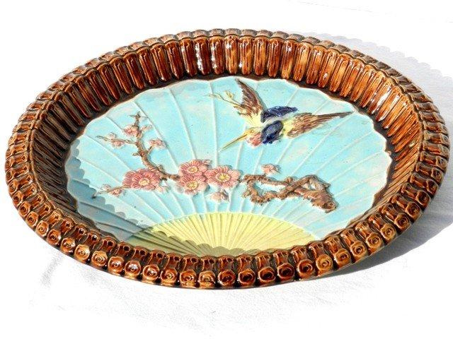 14: Wonderful Oval Majolica Flying Crane Platter