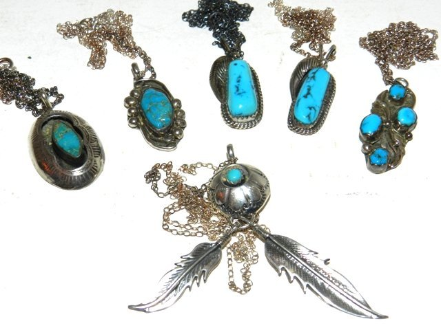 75: 6 Native Indian Sterling Pendant Lot