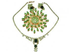 Trifari Sunburst Brooch & Green Rhinestone