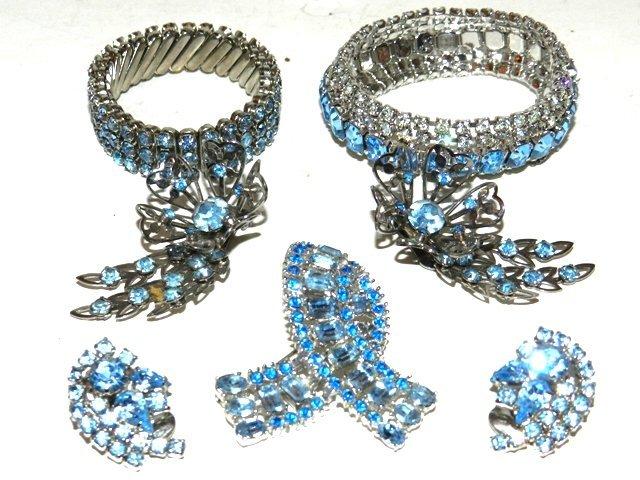 81: 5pc Sky Blue Rhinestone Jewelry Collection