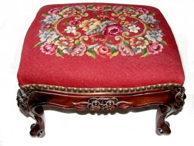17: French Carved Needlepoint Footstool