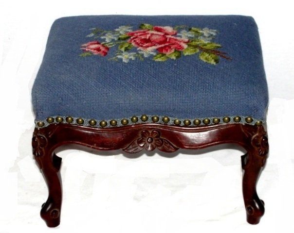 18: French Carved Needlepoint Footstool