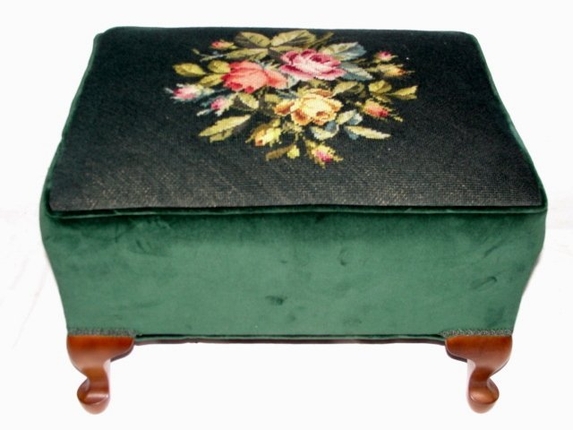 19: Needlepoint Queen Ann Style Footstool