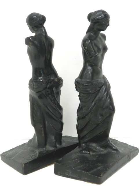 6: 2 Partially Nude Cast Iron Book Ends