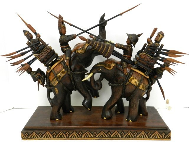 8: Asian Carved Warriors Mid 20th C.