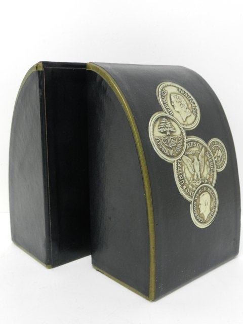 10: Leather Bookends With Mounted Coins