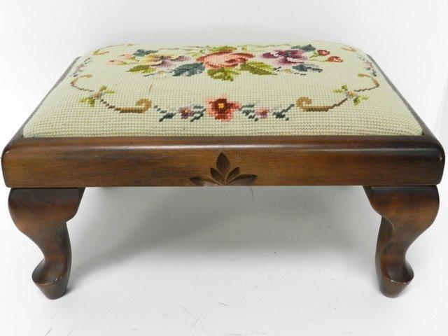 13: Queen Ann Needlepoint Footstool