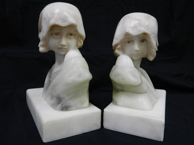 24: Pair Of Young Girl Marble Book Ends