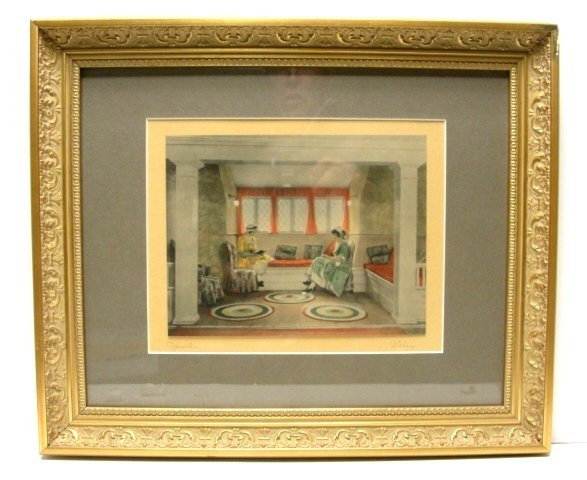 1: Villar Artist Signed Colored Print ''Relaxation''