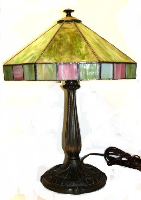 137: Signed Bradley & Hubbard Slag Glass Panel Lamp