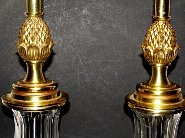 213: Stiffel Table Lamps Brass & Glass With Pineapple - 3