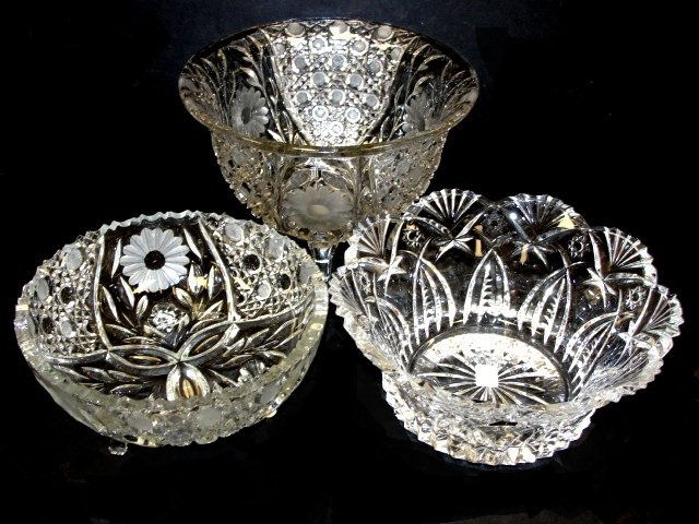 4: Three Cut, Pressed And Leaded Glass Bowls