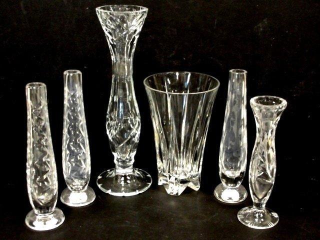 5: Six Cut Glass Leaded Crystal Bud Vase's