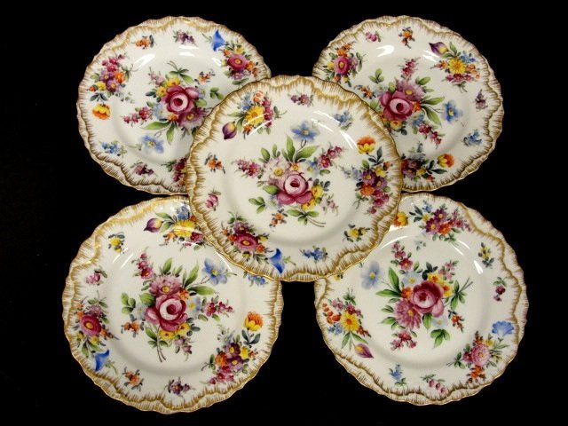 8: Set Of Five Hand Painted Plates Marked Saxe