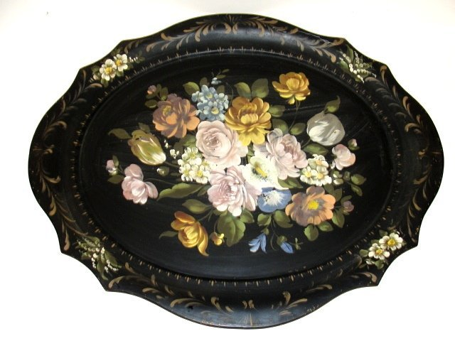 14: Large Toile Hand Painted Tray With Rose's