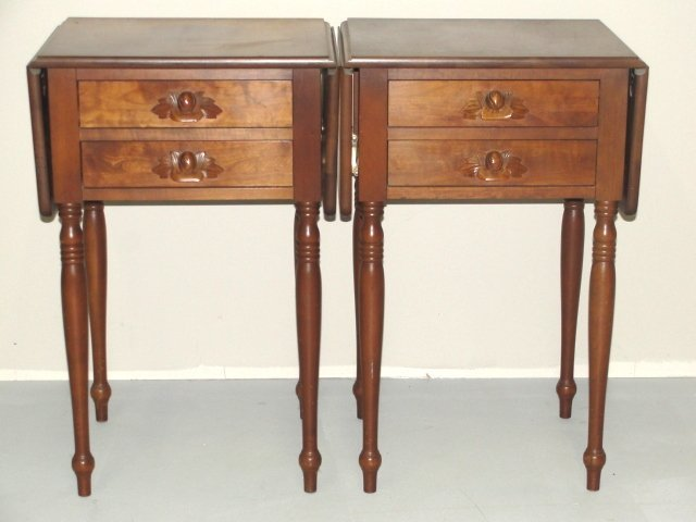 15: Victorian Style Drop Leaf Two Drawer Stands