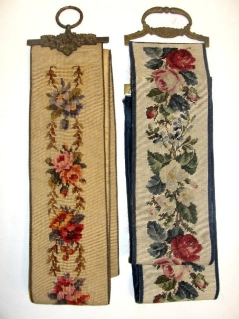 17: Two Long Needlepoint Bell Pulls Ca. 1920's