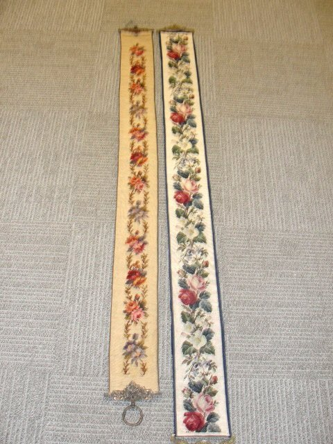 17: Two Long Needlepoint Bell Pulls Ca. 1920's - 2
