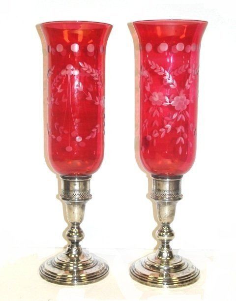 19: Sterling Candle Holders With Red Shades