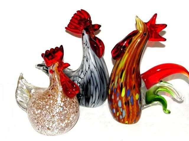 Three New Murano Glass Chicken / Roosters