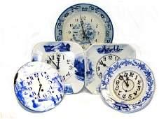 130 German Porcelain Blue And White Clocks
