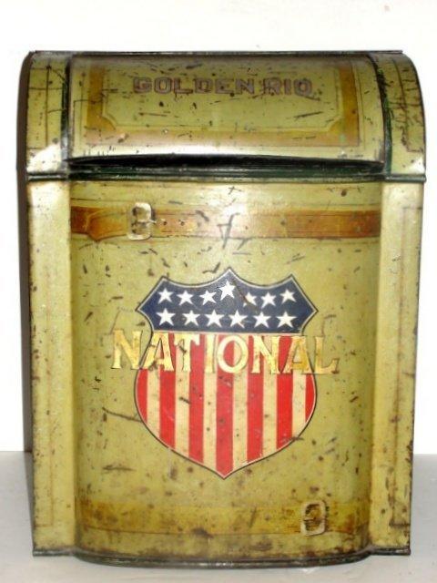 166: Advertizing Tin Golden Rio National Flour Bin