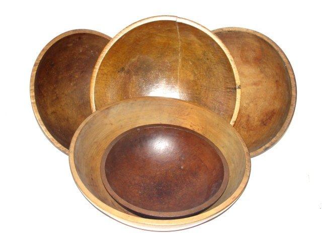 183: Five Old Wood Turned Mixing Bowls