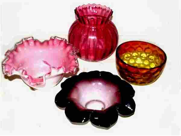 Collection Of Four Pieces Glass Objects