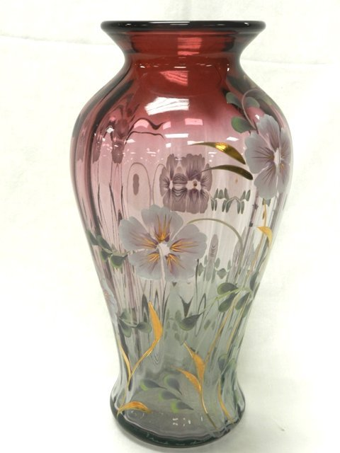 Signed Fenton Glass Vase Martha Reynolds
