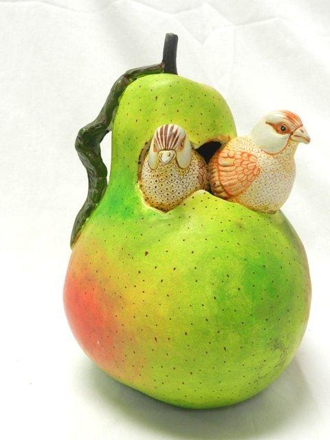Sergio Bustamante Sculpture- Pear w/ Birds