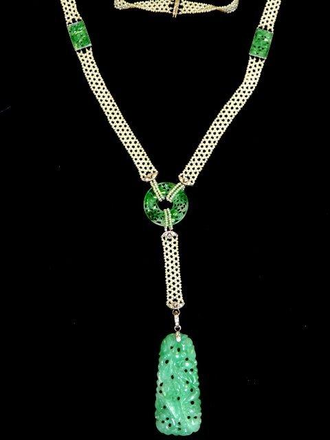 Edwardian Diamond, Jade & Seed Pearl Lariat Necklace