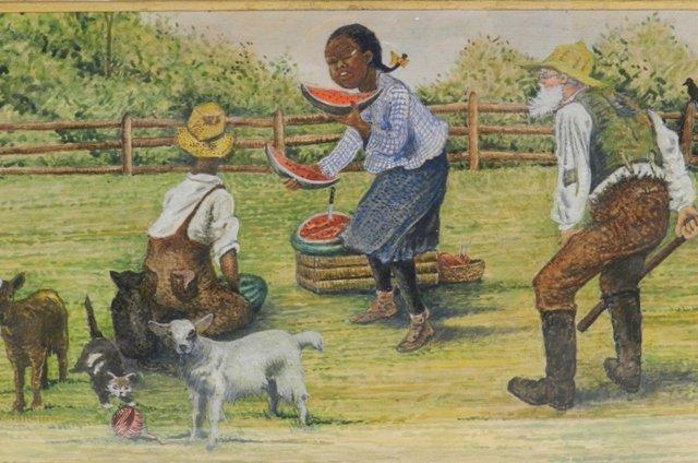 Black Americana Oil Painting Waterlmelon
