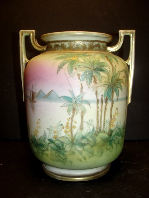 Hand Painted Nippon Scenic Double Handle Vase