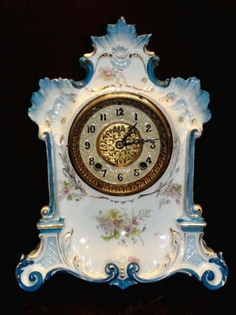 Gilbert Hand Painted China Case Mantle Clock