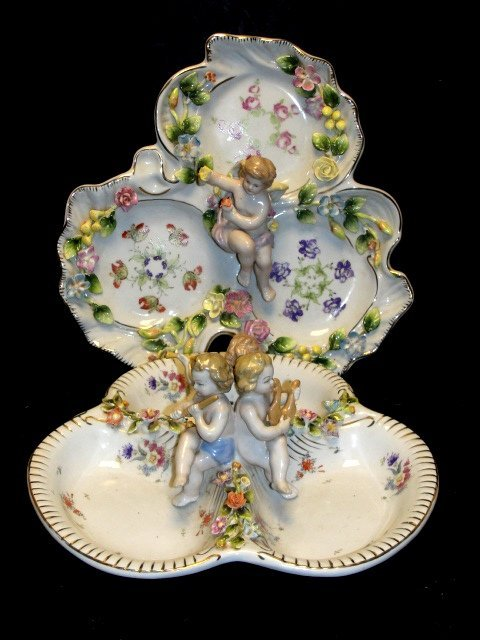 Two German/ Meissen Style Divided Dishes