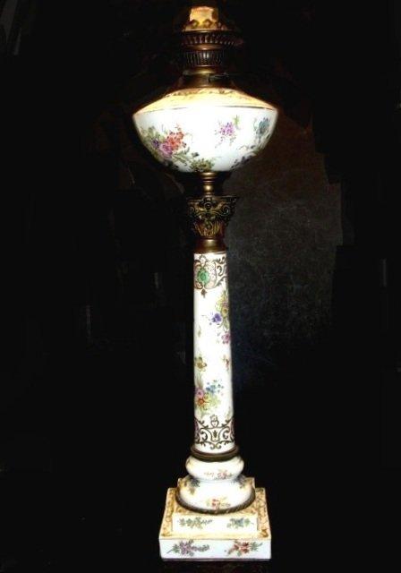 Dresden Tall Banquet Kerosene Lamp Ca,1880's